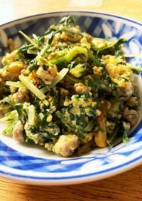 水菜とひき肉の玉子とじ
