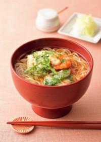 エビと春菊のかき揚げ温麺(うーめん)