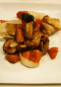 鶏と残り野菜の黒酢あんかけ
