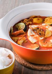 焼きレモンとトマトのカマンベール鍋