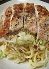 胸肉のグリルチキンのせサラダパスタ