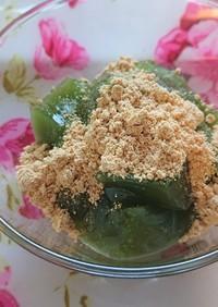 サイリウムわらび餅✲*゚青汁で抹茶風味