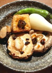 簡単なおつまみ 焼き椎茸と厚揚げ+浜納豆
