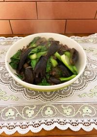 茄子とチンゲン菜の和風ひき肉餡掛け