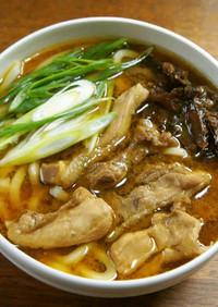 地鶏のスープで味噌うろん(うどん)