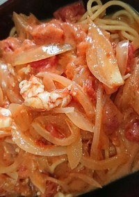 海老のトマトミルクパスタ