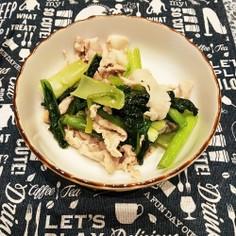 豚バラと小松菜のウェイパー炒め