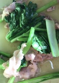 豚肉と小松菜の白だし和え