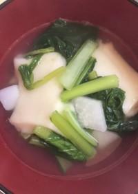 餅入り、小松菜スープ