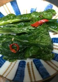 カブの葉の野沢菜わさび漬け風☆