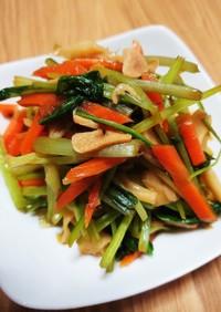 壬生菜と人参・舞茸のにんにく醤油炒め