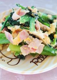 簡単!小松菜とベーコンの玉子炒め