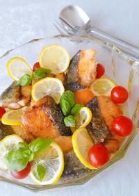 秋鮭の蜂蜜塩レモン漬け