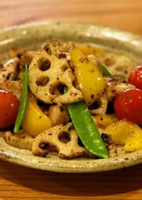 鶏肉と蓮根のアーリオオーリオ[浜納豆]
