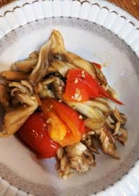 舞茸とトマトのオリーブオイルバター炒め
