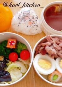 簡単ゆる糖質制限豚茹で卵サラダ弁当覚書