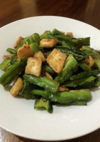 四角豆と豆腐のニンニク炒め