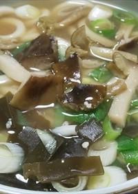 天然キノコ・シモコシの味噌うどん
