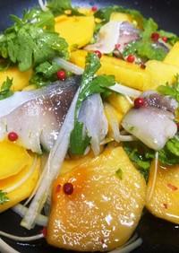 柿としめ鯖の冬野菜サラダ