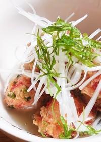 簡単!里芋(八頭)の餡かけ紅生姜揚げ団子