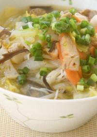 大盛り野菜の中華スープそうめん
