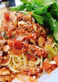 鯖缶で簡単さっぱりトマトパスタ!