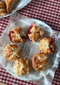 まるい形のアップルパイと苺ジャムパイ