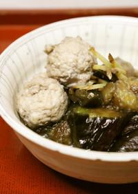 時短♪美味♪鶏ミンチ団子レンジ茄子の煮物
