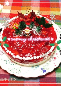 レアチーズと苺のクリスマスケーキ2020