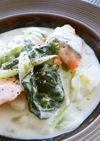 レンジで簡単!鮭と小松菜のシチュー