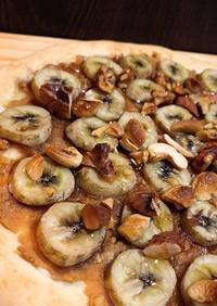 発酵なし♡バナナとピーナツバターのピザ