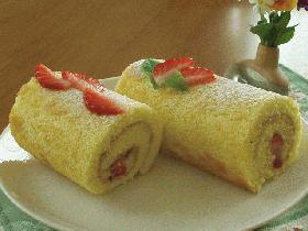 小さなカスタードロールケーキ