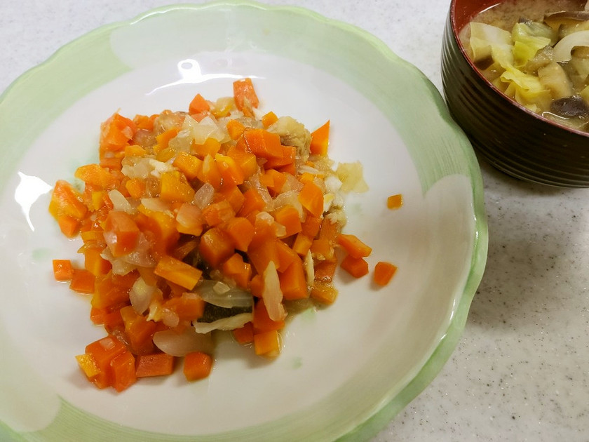 鱈と野菜のゆずあんかけ&キャベツの味噌汁