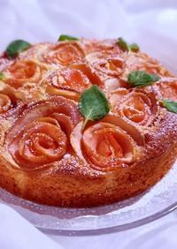 ホットケーキミックスでりんごの薔薇ケーキ