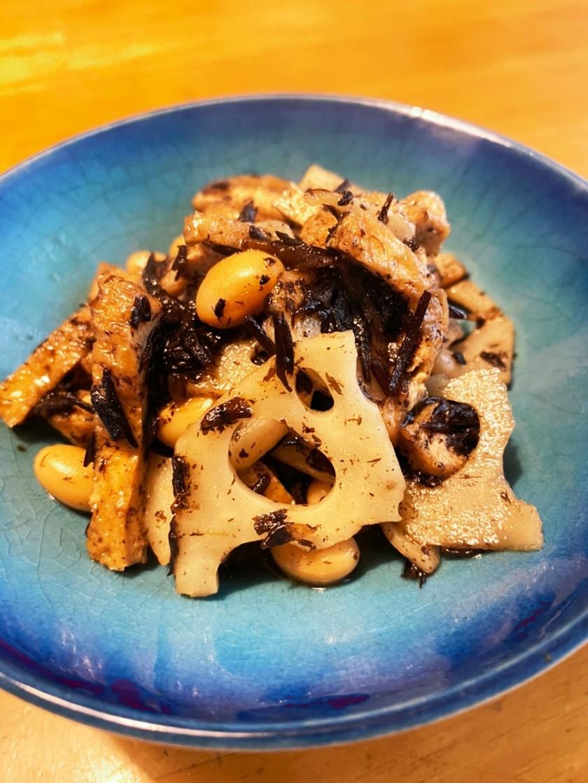 レンコン入り、ひじきと大豆の煮物