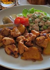 ソース☆鶏もも肉とじゃがいものカレー炒め
