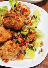 鶏の唐揚げ&野菜たっぷりドレッシング