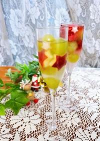 クリスマスに♪簡単キラキラ白ワインゼリー
