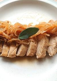 下味冷凍、レンジで簡単玉ねぎと鶏胸肉焼き