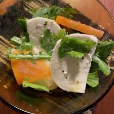 モッツァレラと柿、春菊の簡単激ウマサラダ