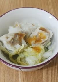 焼売と白菜の簡単蒸し おろしソースで