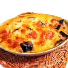 なす・ツナ・トマトのカレーマヨチーズ焼き