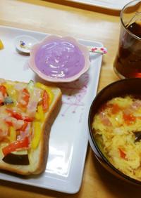 ピザ(食パン、切れっぱし野菜)