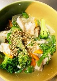 レンジ胸肉ブロッコリー塩炒め味青椒肉絲風