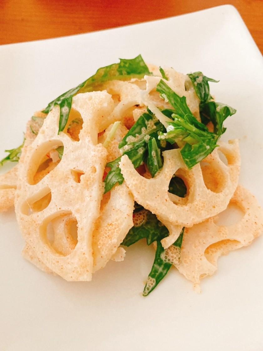 れんこんと水菜の明太サラダ