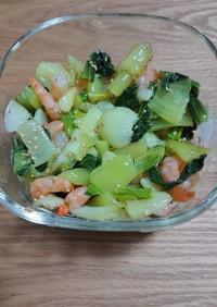 チンゲン菜とむきエビの ナムル。レンジで