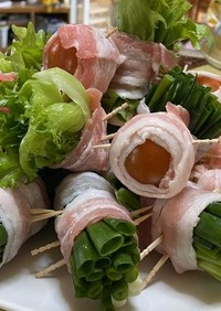 電子レンジで簡単!野菜の肉巻き!