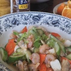 シーフードミックスと胡瓜の炒め