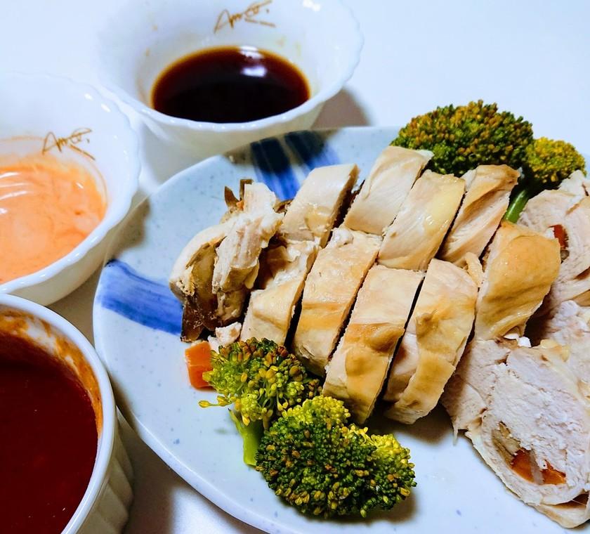 レンチン❗チキンの野菜巻きと三種のソース