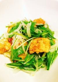 玉ねぎと水菜の唐揚げサラダ(ゆず入り)